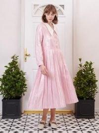SISTER JANE FIFTY-THREE ROSE LANE Affection Pleated Midi Dress Pink Carnation