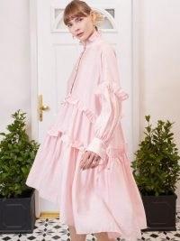 SISTER JANE Simply Ruffled Oversized Midi Dress ~ pink oversized high ruffle neck dresses