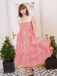 sister jane Love Note Gingham Midi Dress Red and White / checked summer dresses