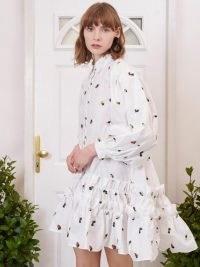 sister jane Posy Embroidered Ruffle Mini Dress / voluminous dip hem shirt dresses