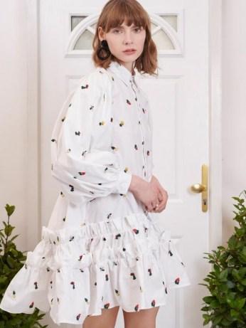 sister jane Posy Embroidered Ruffle Mini Dress / voluminous dip hem shirt dresses - flipped