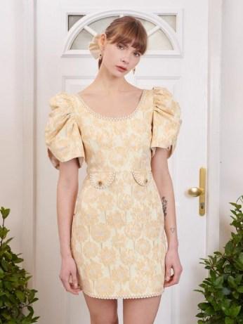 sister jane Telegram Jacquard Mini Dress / romantic yellow floral occasion dresses - flipped