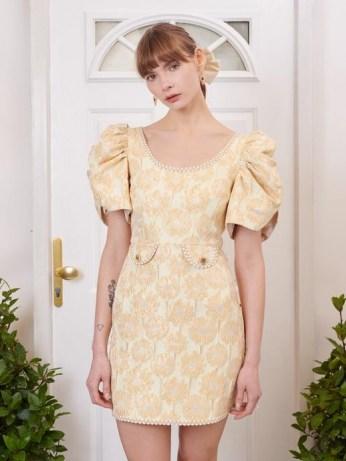 sister jane Telegram Jacquard Mini Dress / romantic yellow floral occasion dresses