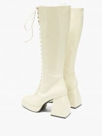 NODALETO Bulla Ward lace-up knee-high leather boots ~ white patent chunky heel boots