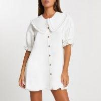 River Island Ecru oversized collar shift dress   puff sleeve dresses