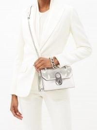 CHRISTIAN LOUBOUTIN Elisa mini metallic silver-leather cross-body bag