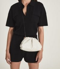 REISS ELLENA LEATHER POUCH CLUTCH BAG OFF WHITE / chic crossbody bags
