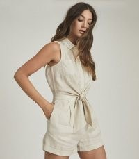 REISS EMA LINEN PLAYSUIT STONE ~ chic shirt style summer playsuits