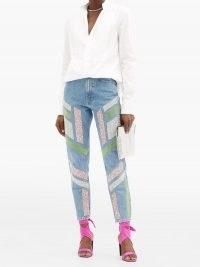 GERMANIER Embellished high-rise straight-leg jeans | sparkling denim
