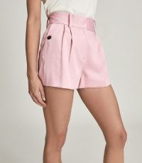REISS EMBER TAILORED PLEAT FRONT SHORTS PINK