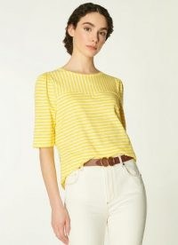 L.K. BENNETT EMMA CREAM YELLOW COTTON T-SHIRT / striped summer tee