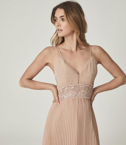 EMMA LACE & PLEAT DETAILED MIDI DRESS NUDE ~ strappy luxe style occasion dresses - flipped