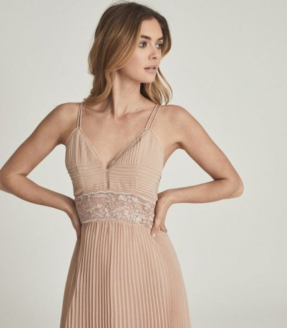 EMMA LACE & PLEAT DETAILED MIDI DRESS NUDE ~ strappy luxe style occasion dresses