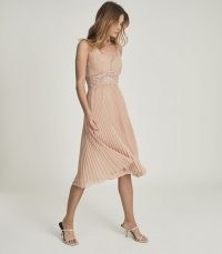 REISS EMMA LACE & PLEAT DETAILED MIDI DRESS NUDE ~ luxe occasion dresses