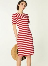 L.K. BENNETT EMMA RED MULTI DRESS / striped short sleeve summer dresses