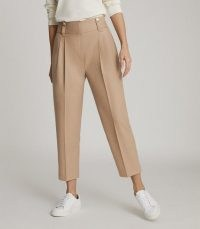 REISS ESTHER WOOL BLEND PLEAT FRONT TROUSERS CAMEL ~ light brown cropped pants