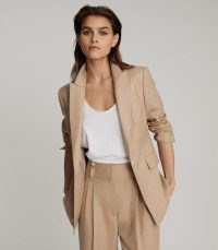 REISS ESTHER WOOL BLEND TAILORED BLAZER CAMEL ~ light brown single breasted blazers