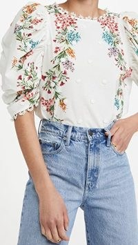 FARM Rio Louise Floral Blouse – ruche sleeve top