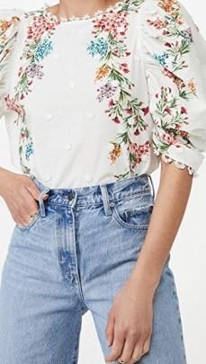 FARM Rio Louise Floral Blouse – ruche sleeve top - flipped