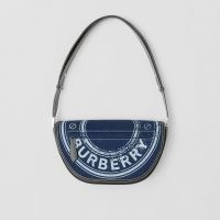 BURBERRY Small Logo Graphic Denim and Leather Olympia Bag in Dark Canvas Blue ~ designer crossbody bags