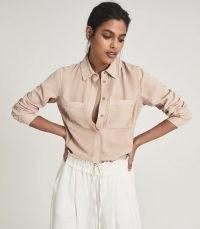 REISS FELICIA TWIN POCKET SHIRT CAMEL ~ light brown soft-feel shirts