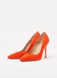 L.K. BENNETT FERN ORANGE SUEDE COURTS – bright court shoes
