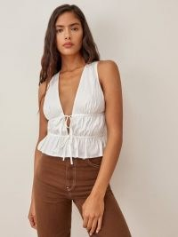 Reformation Feta Top | white ruched plunge front tops