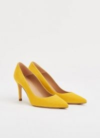 L.K. BENNETT FLORET SHERBET YELLOW SUEDE COURTS / spring court shoes