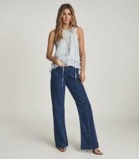 REISS FLORRIE EYELET DETAILED SLEEVELESS BLOUSE BLUE ~ feminine lace up detail summer blouses