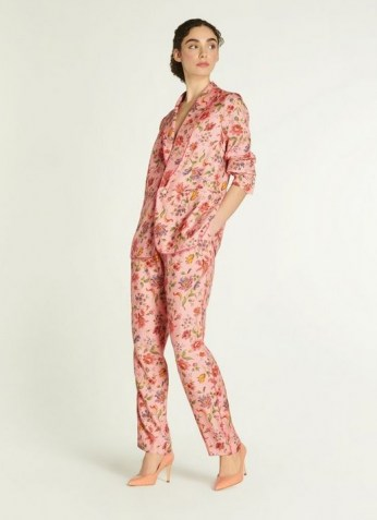 L.K. BENNET GABBY PINK ROMANCE FLORAL PRINT ECO VISCOSE TROUSERS / tie waist summer occasion pants - flipped
