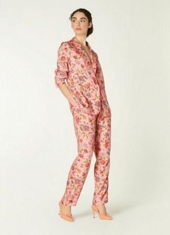 L.K. BENNET GABBY PINK ROMANCE FLORAL PRINT ECO VISCOSE TROUSERS / tie waist summer occasion pants