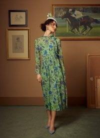 L.K. BENNETT GISH GREEN ROMANCE FLORAL PRINT TIE NECK SILK DRESS ~ summer occasion dresses