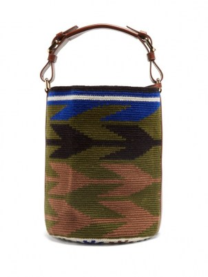 COLVILLE Arrow leather-trim woven bucket bag | cylindrical top handle bags - flipped