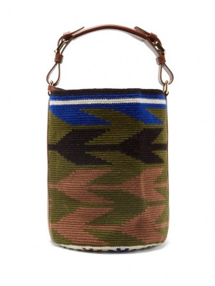 COLVILLE Arrow leather-trim woven bucket bag | cylindrical top handle bags