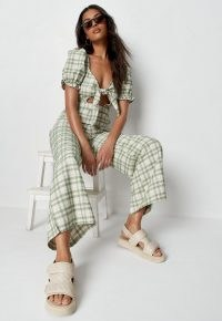 MISSGUIDED green check tie front wide leg jumpsuit / cut out jumpsuits