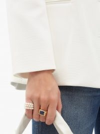 TIMELESS PEARLY Crystal & 24kt gold-plated ring / chunky rings