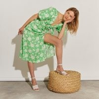 RIVER ISLAND Green floral tie front Midi dress | puff sleeve summer dresses with thigh high split