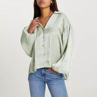 RIVER ISLAND Green long puff sleeve shirt ~ slouchy drop sleeve shirts