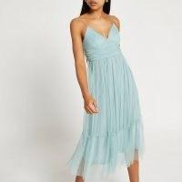 RIVER ISLAND Green mesh strappy midi dress ~ floaty skinny strap dresses