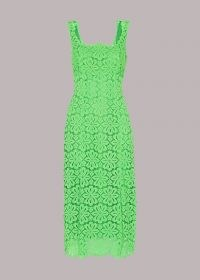 WHISTLES NOELLE LACE DRESS GREEN / floral scoop back dresses