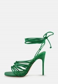MISSGUIDED green strappy lace up heeled sandals / skinny strap high heels