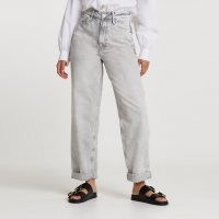 River Island Grey oversized high waisted mom jean | responsibly sourced cotton jeans