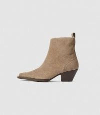 REISS HAYWORTH SUEDE SUEDE WESTERN ANKLE BOOTS SAND