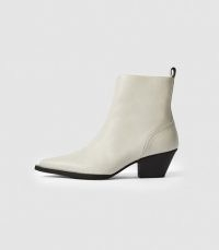 REISS HAYWORTH LEATHER WESTERN ANKLE BOOTS WHITE ~ cuban heel boot