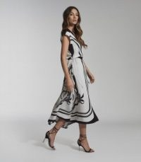 REISS HEIDI SCARF PRINT MIDI DRESS BLACK/WHITE ~ floaty summer event dresses