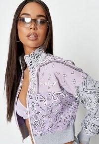 helena critchley x missguided lilac bandana print zip through cropped sweatshirt
