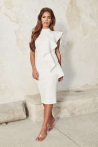 lavish alice high neck frill scuba midi dress in white – one shoulder dresses with oversized ruffle