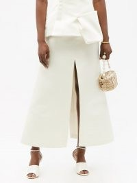 A.W.A.K.E. MODE High-rise crepe A-line maxi skirt | ivory front and back slit skirts