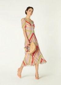 L.K. BENNETT HOLZER CANDY STRIPE SILK MIDI DRESS – women's summer occasion dresses – vintage style occasionwear