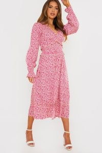 JAC JOSSA PINK FLORAL MIDI DRESS WITH FRILL DETAIL ~ romantic celebrity inspired summer dresses